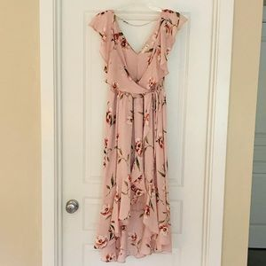 Soprano Pink Floral Wrap Dress